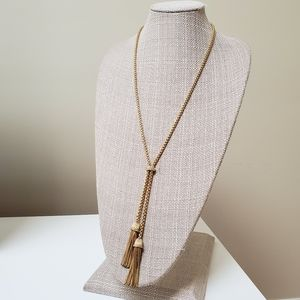 J. Crew gold crystal long tassel layer necklace
